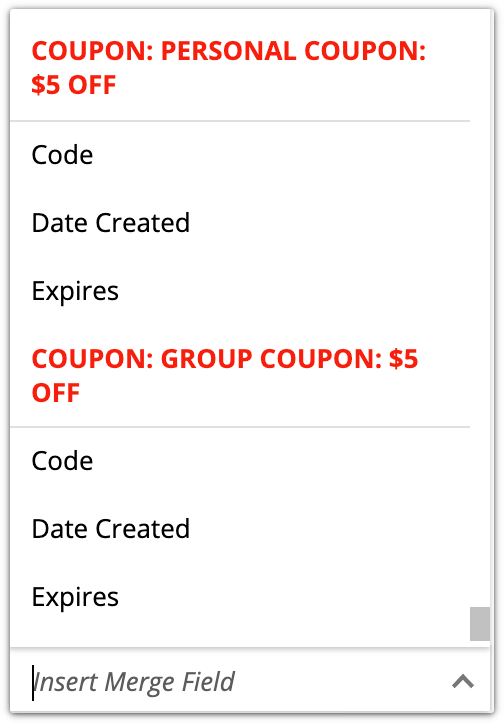 coupon code merge fields
