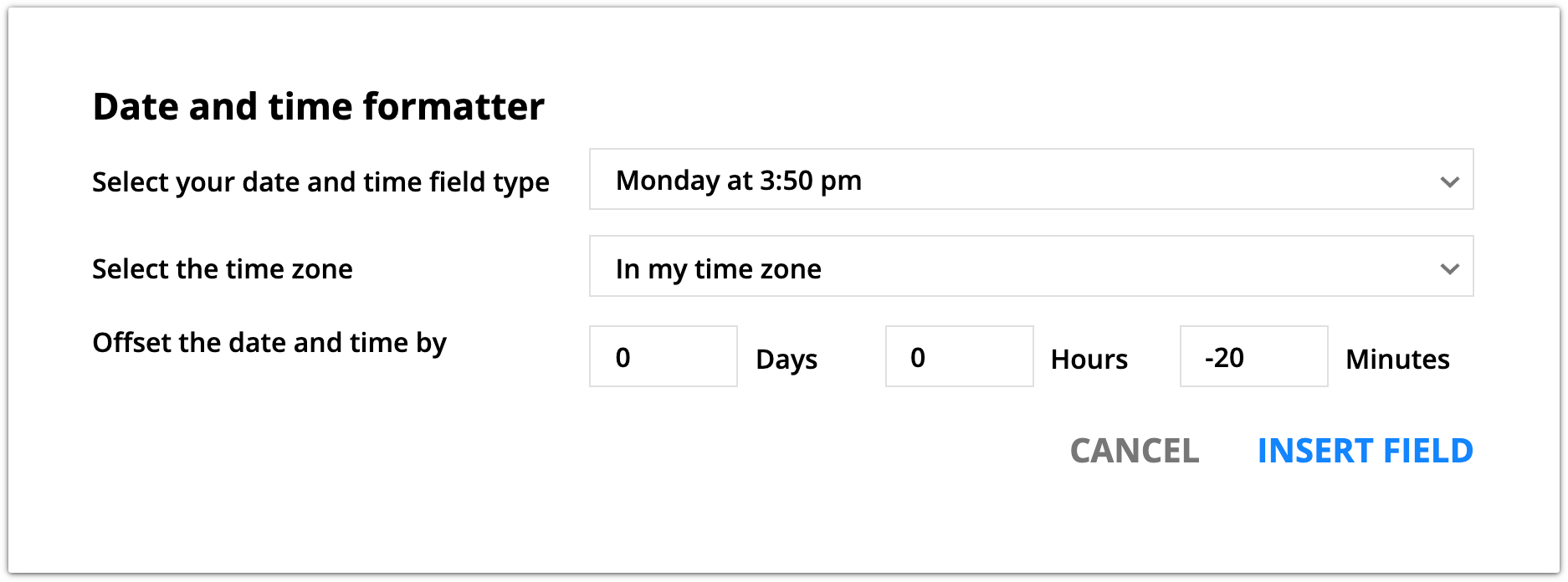Date and time formatter offset date example
