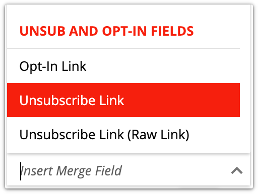 unsub and opt-in fields