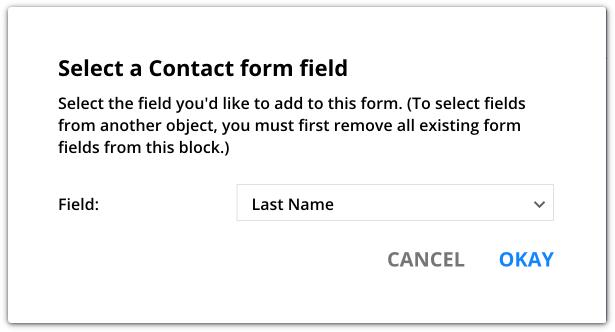 Select a contact form field example