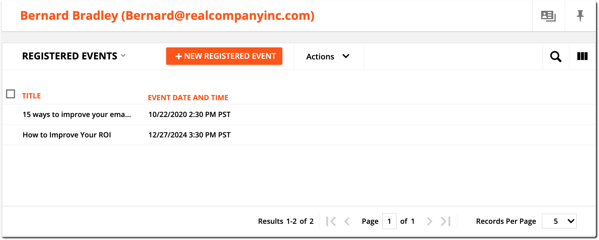 Registered Events example