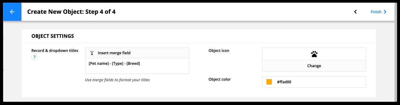 Create new object step 4