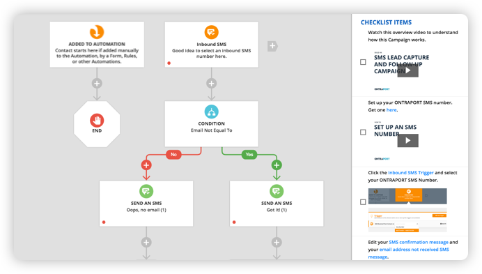A screenshot of programmed automation in Ontraport's Campaign Builder feature
