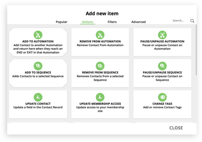 A screenshot of the action elements selection in Ontraport's Campaign Builder feature