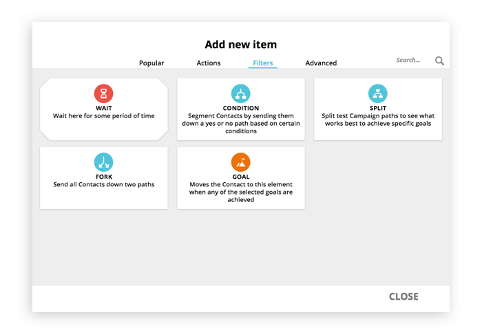 A screenshot of filter elements selection options in Ontraport's Campaign Builder feature