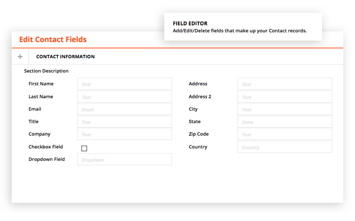 Screenshot showing the Field Editor feature, used to make custom fields in the Ontraport app