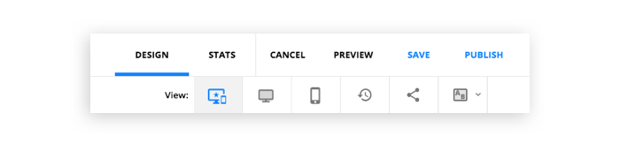 A screenshot of the Ontraport Pages editor menu options in the Ontraport app
