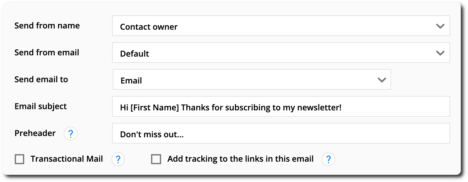 the email settings section