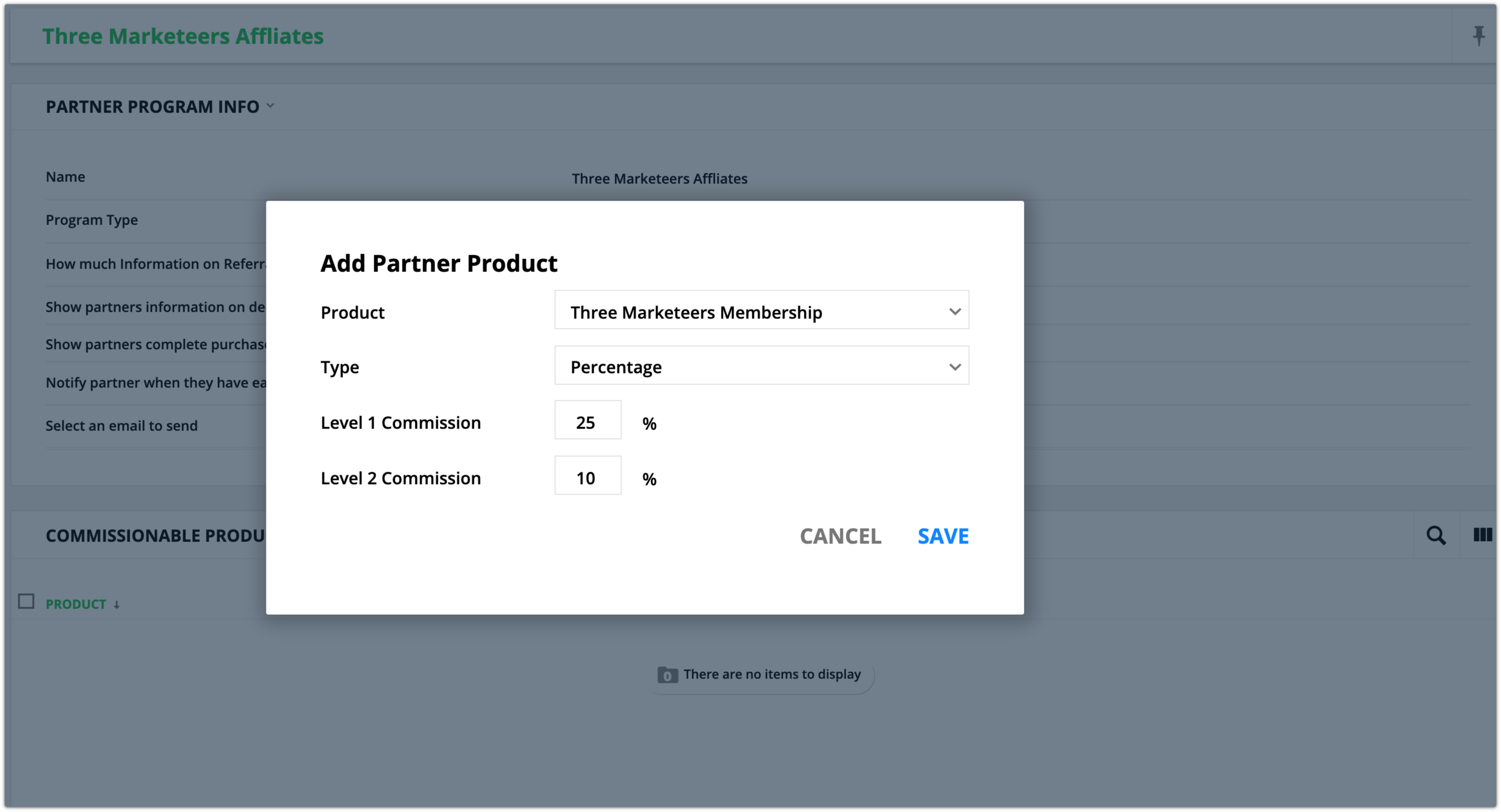 Add a partner product example