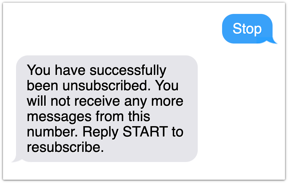 text unsubscribe example