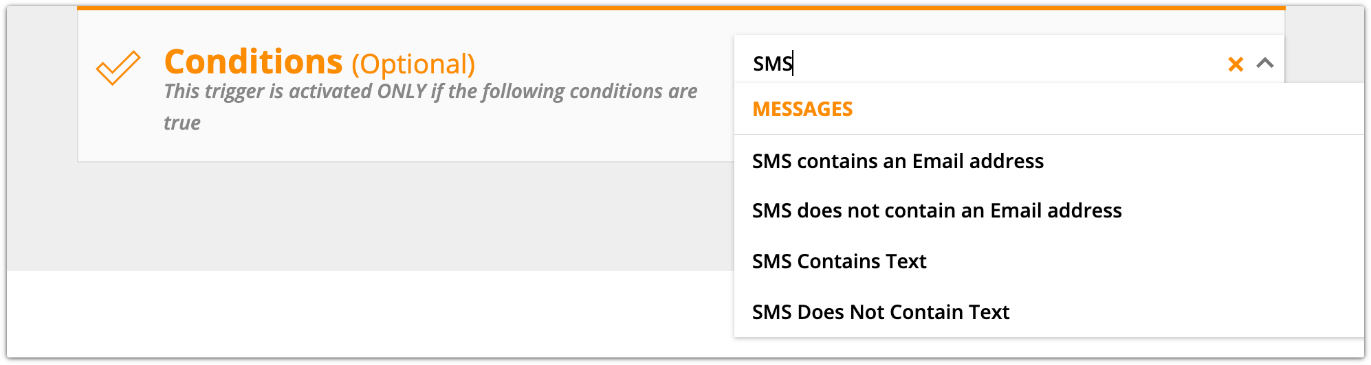 SMS trigger condition example