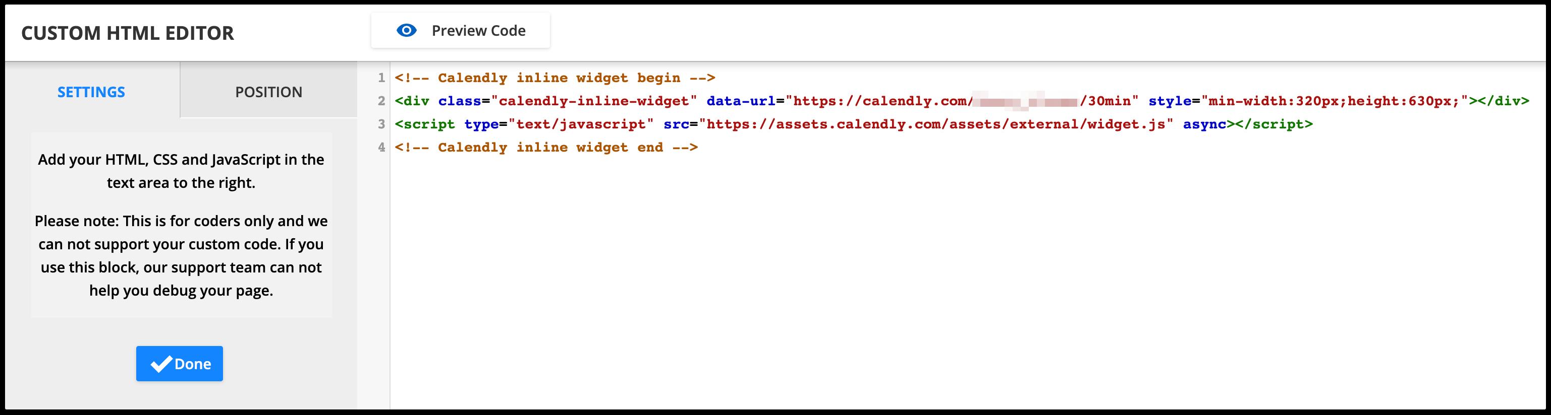 custom html code editor example image